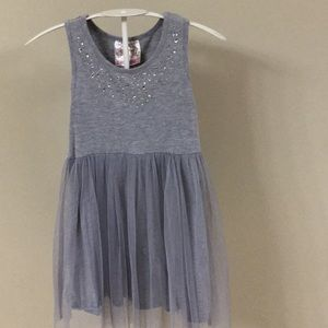 Silver/Gray Comfy T-shirt Dress with Tulle